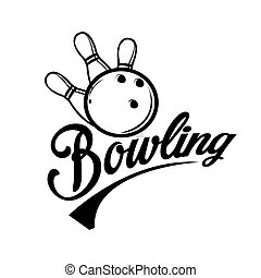 Bowling emblems, labels, badges and designed elements.