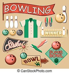 Bowling Equipment Set. Bowling Icons Collection. Vector...