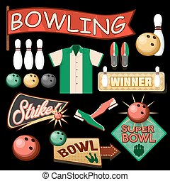 Bowling Equipment Set. Flat Icons Collection.