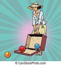 bowling, femme, ball., valise