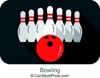Bowling flat icon design, verctor illustration