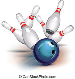 Bowling Game (front view) - Bowling ball crashing into the...