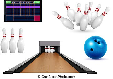 Set of realistic bowling icons with images of pins ball and leaderboard score table with lane vector illustration