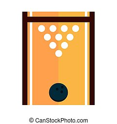 bowling game recreational sport top view alley ball and pins flat icon design