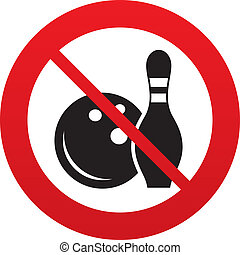Bowling game sign icon. Ball with pin skittle. - Bowling...