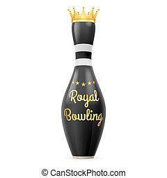 Bowling - Golden Crown at black skittles isolated on a white...
