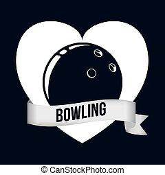 bowling, icônes, conception