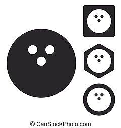 Bowling icon set, monochrome