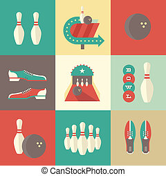 Bowling icons - Vector vintage bowling icons