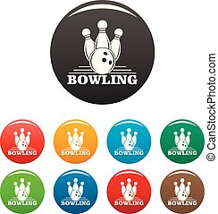 Bowling icons set color