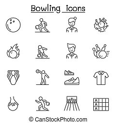 Bowling icons set in thin line style