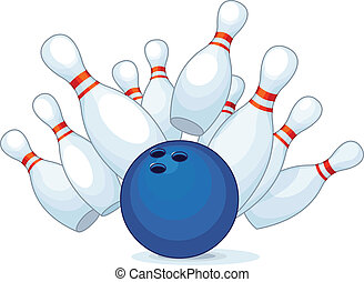 Bowling - Illustration of a bowling ball strike with falling...