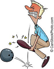 Bowling injury - Cartoon of a bowler dropping the ball on...