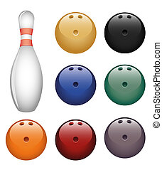 Bowling - Isolated image of a bowling pin and a balls.