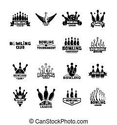 Bowling kegling game logo set, simple style