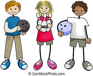 Bowling Kids with Clipping Path