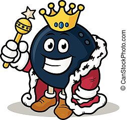 Bowling King - Bowling king vector cartoon mascot