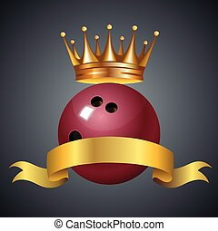 Bowling king champion symbol with a golden crown on a red plastic bowling ball for bowlers representing the winning of a tournament or game at a bowling alley due to many strikes of the pins.