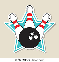 bowling label over star background vector illustration