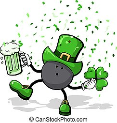 Bowling Leprechaun - A bowling ball leprechaun celebrating...