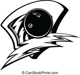 Bowling Lightening Shield - Black and white vector...