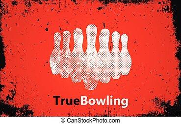 Bowling logo design. Bowling poster design. skittle logo