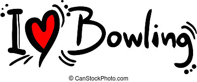 Creative design fo bowling love