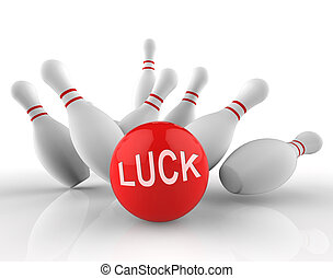 Bowling Luck Represents Lucky Ten Pin 3d Rendering