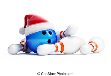 bowling new year - boungling new year santa hat
