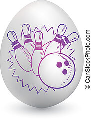 Bowling on easter egg - Doodle style bowling pins and ball...