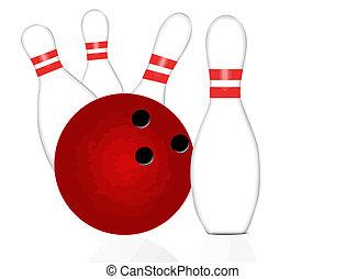 bowling piłka, i, szpilki