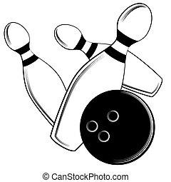 bowling piłka, uderzenia, szpilki