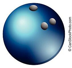 bowling piłka, w, błękitny, kolor