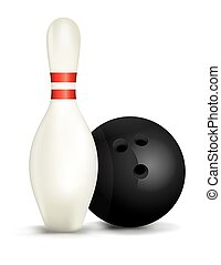 Bowling Pin and Ball Isolated Illustration