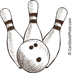Bowling Pins and Ball - Illustration of bowling pins and...