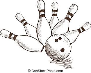 Bowling Pins and Ball - Illustration of bowling pins and...