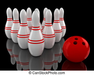bowling pins and ball with ground reflection