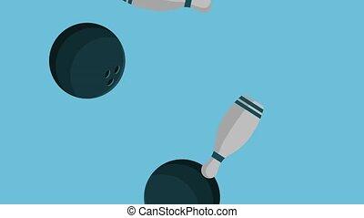 Bowling pins and balls raining HD animation - Bowling pins...