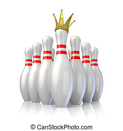 Bowling pins arranged and one with royal crown. 3D render ...