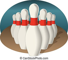 set of bowling pins in pyramid formation in perspective on a two colour background with shadow