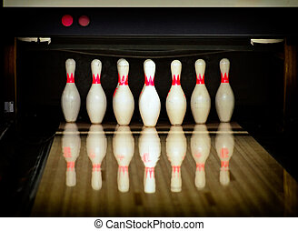 Bowling pins in the bowling club.