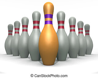 bowling pins of white and goldish color on a white...