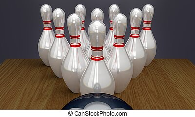 Bowling Pins on Racked Near Strike