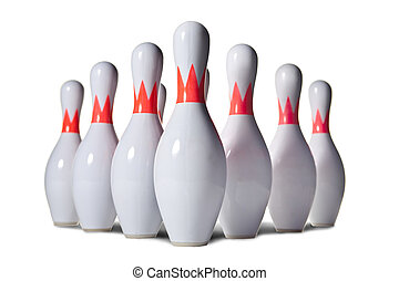 Bowling pins - Ten bowling pins. Isolated on white.