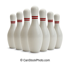 Bowling Pins - Group of Bowling Pins Isolated on White...