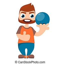 Bowling Player on white background
