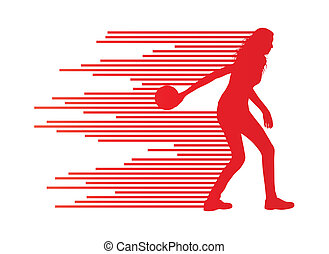 Bowling player silhouettes vector background concept