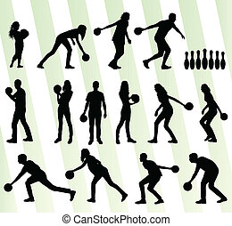 Bowling player silhouettes vector set