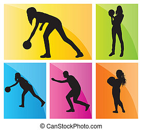 Bowling player silhouettes vector set background for poster