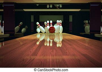 bowling, prise vue., ten-pin